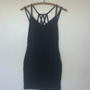 CHARLOTTE RUSSE Black Strappy Bodycon Mini Dress